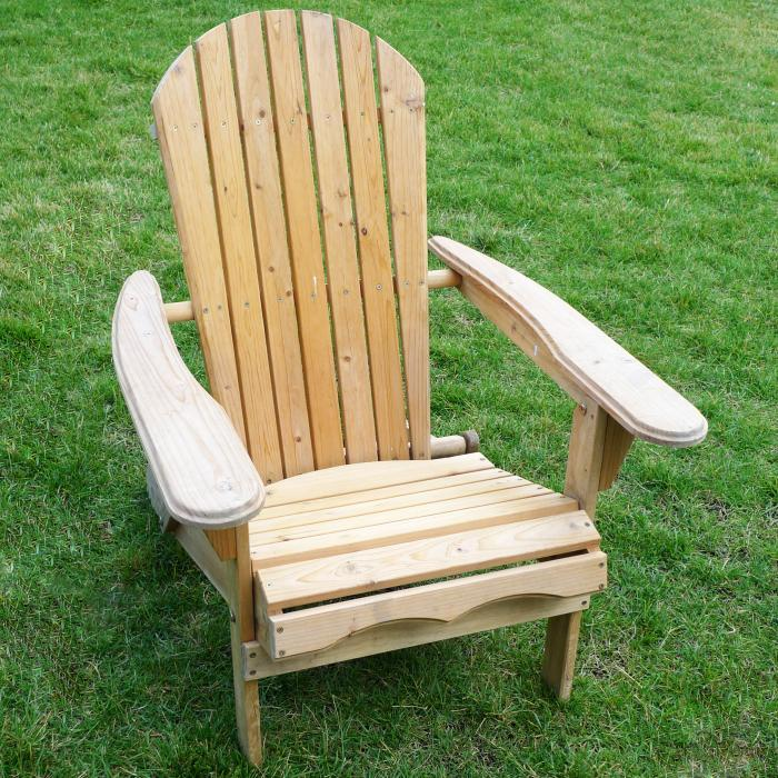 Merry Products Foldable Adirondack Chair - Fir Wood, Unfinished