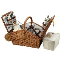 Picnic at Ascot Huntsman English-Style Willow Picnic Basket with Service for 4 and Blanket - Santa Cruz