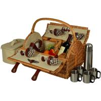 Picnic at Ascot Yorkshire Willow Picnic Basket with Service for 4 with Coffee Set - London Plaid