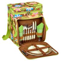 Picnic at Ascot Insulated Picnic Basket/Cooler Fully Equipped with Service for 2 - Floral