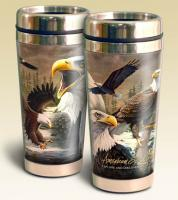 American Expeditions Eagle Collage Steel Travel Mug 16 oz