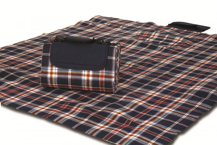 "Mega Mat Folded Picnic Blanket with Shoulder Strap - 48"" x 60"" (Nautical Navy)"