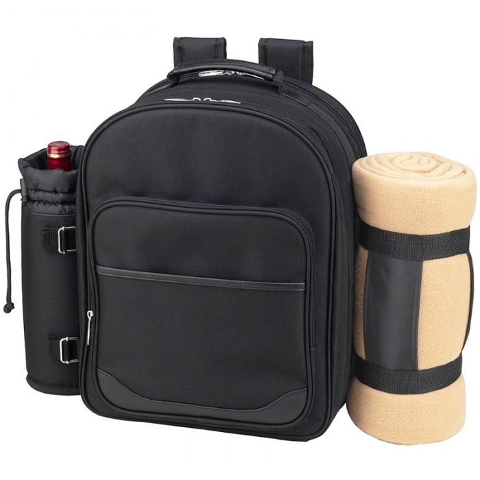 Deluxe Equipped 4 Person Picnic Backpack w/Blanket - Black
