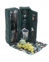 Primeware Solana-Two Person Wine Tote - Green w/ Vineyard Napkins