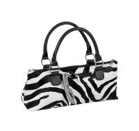 Picnic Gift - Wine Clutch - Zebra Insulated Single Bottle Wine Tote