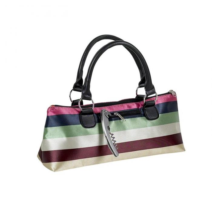 Primeware Single Bottle Wine Clutch-Stripe Sassy