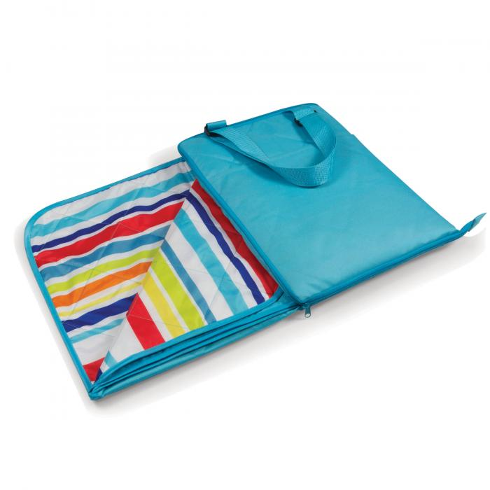 Picnic Time ONIVA Vista Outdoor Picnic Blanket & Tote (Fun Stripe Pattern with Aqua Blue Exterior)