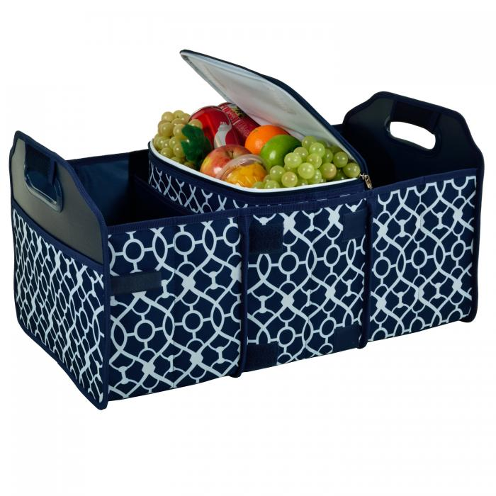 Original Folding Trunk Organizer with Cooler by Picnic at Ascot - Trellis Blue