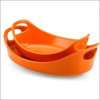 RACHAEL RAY 51764 Oval Bakers Small & Medium Orange Set of 2