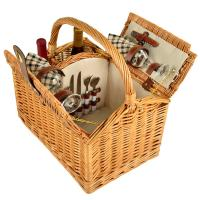 Picnic at Ascot Vineyard Willow Picnic Basket with service for 2 - London Plaid