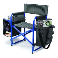 Picnic Time Fusion Chair, Dark Gray with Blue