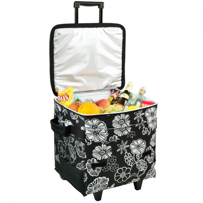 Picnic at Ascot 60 Can Collapsible Insulated Rolling Cooler - Night Bloom