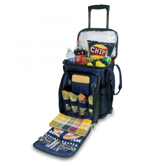Picnic Time Avalanche Deluxe Cooler on Wheels w/ Service for 4, Navy Blue