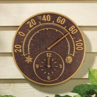 Whitehall Solstice Thermometer Clock - Antique Copper