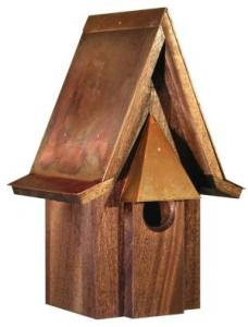 Heartwood Mahogany Chateau Birdhouse with Burnished Copper Roof