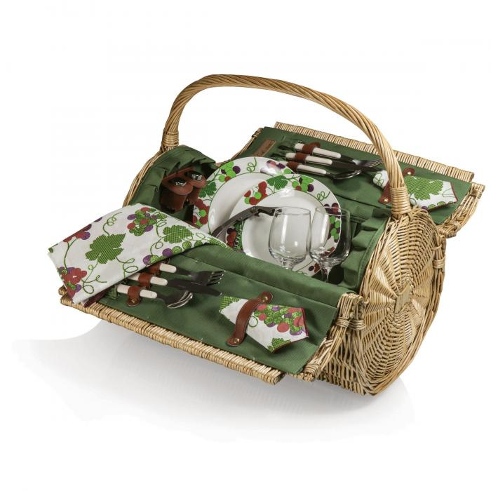 "Picnic Time Barrel 18 1/2"" Willow Basket w/Deluxe Service for 2, Pine Green w/ Grapes"