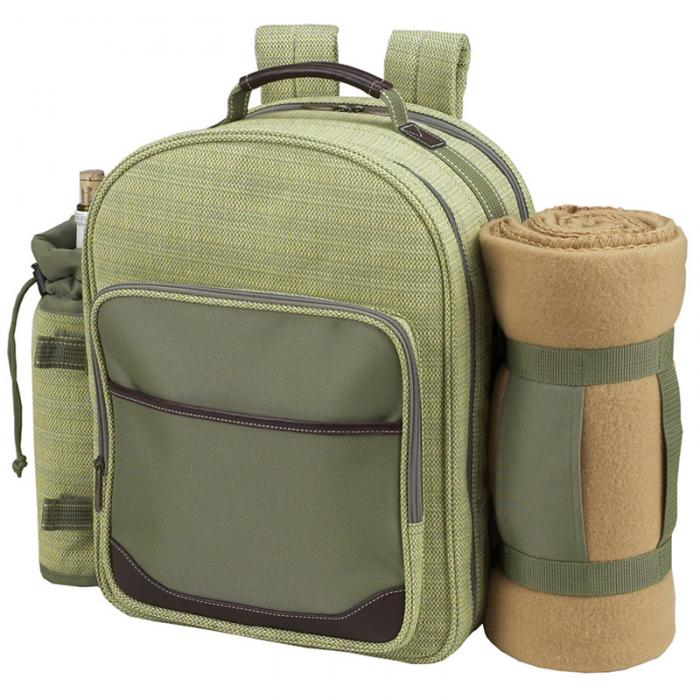 Picnic at Ascot - Deluxe Equipped 4 Person Picnic Backpack with Cooler, Insulated Wine Holder & Blanket - Olive Tweed