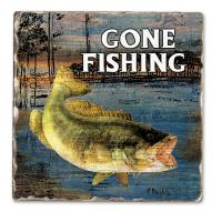 Counter Art Gone Fishing Bass Single Tumbled Tile Coaster