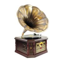 Pyle Vintage Phonograph Horn Turntable With CD, Cassette, AM/FM, Aux-In, USB-to-PC Recording (PVNP4CD)