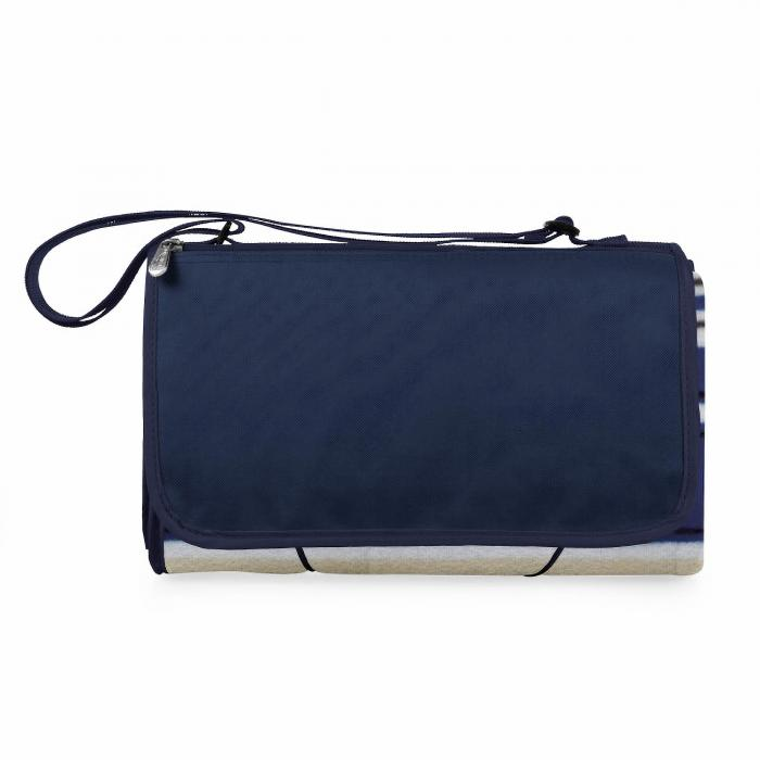 Picnic Time ONIVA Blanket Tote XL Outdoor Picnic Blanket (Blue Stripe Pattern with Navy Flap)