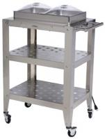 BroilKing Double Buffet Warming Cart with Clear Individual Lids