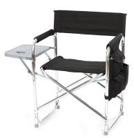 Picnic Plus Directors Sport Chair with Folding Side Table & Side Panel Pockets - Black