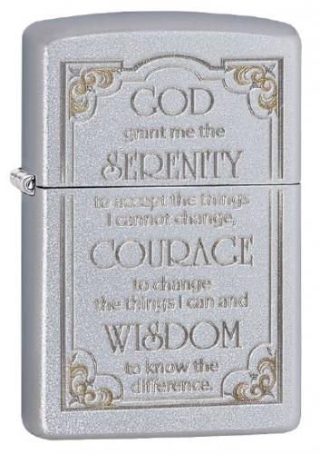 Serenity Prayer, Satin Chrome Zippo Lighter