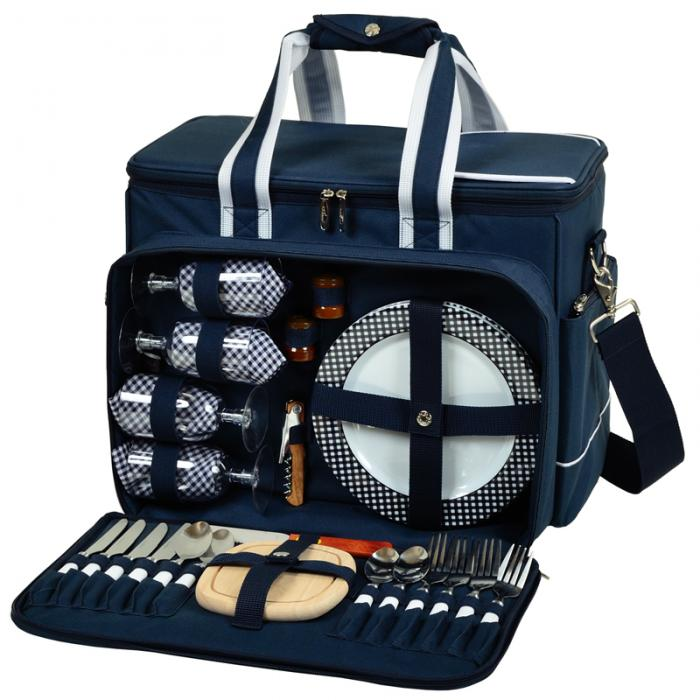 Picnic at Ascot Bold Deluxe Picnic Cooler for Four, Navy