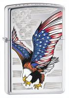 Eagle Flag, High Polish Chrome Zippo Lighter