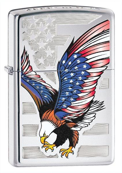 Eagle Flag, High Polish Chrome Zippo Lighter