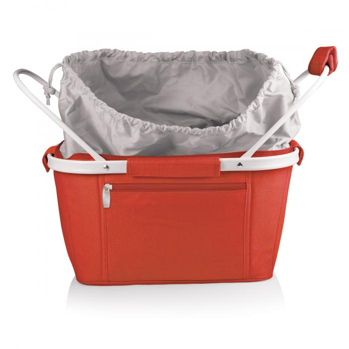 Picnic Time Metro Waterproof Polyester Canvas Empty Picnic Basket, Red