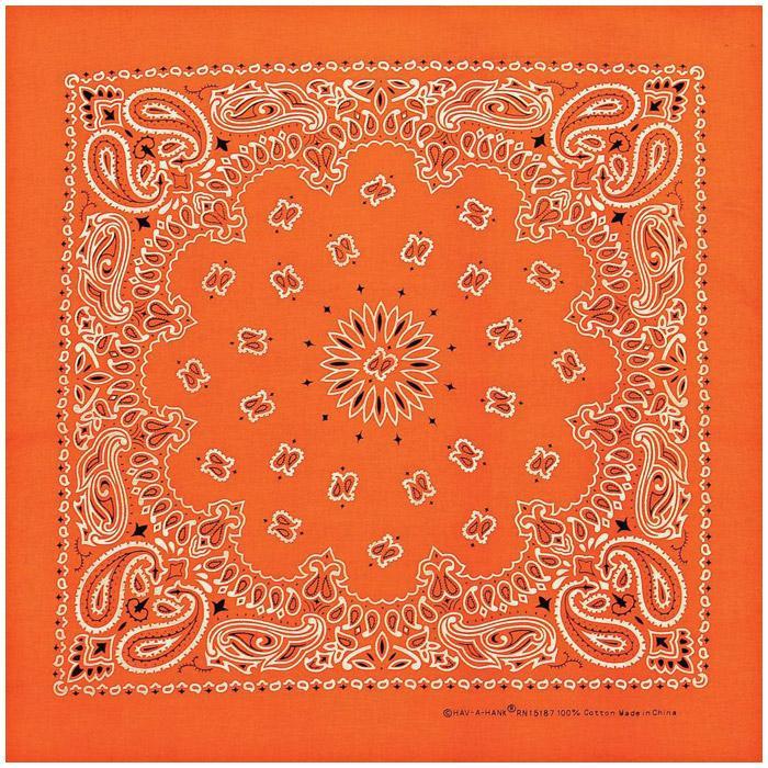 Carolina Manufacturing Neon Paisley Bandana Orange