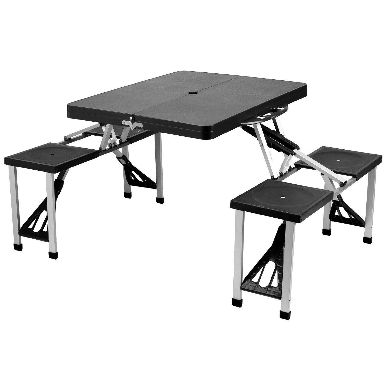 Picnic At Ascot Portable Picnic Table Set Black