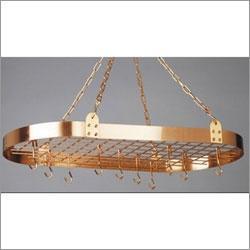 "Old Dutch 36"" x 18"" Satin Copper Oval Pot Rack with 12 Hooks"