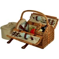 Picnic at Ascot Sussex Willow Picnic Basket with Service for 2 - Wicker/Gazebo