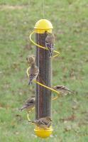 """Songbird Essentials 17"""" Yellow Spiral Finch Tube Bird Feeder"""