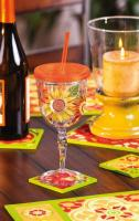 Evergreen Enterprises Insulated Acrylic 12oz Goblet w/ Straw & Lid, Blackboard Bouquet
