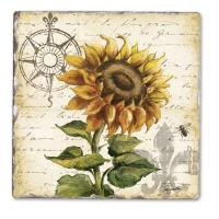 Counter Art Sunflower Square Single Tumbled Tile Coaster