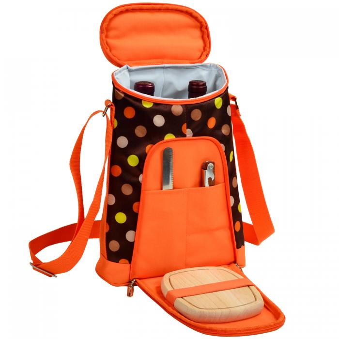 Picnic at Ascot Stylish 2 Bottle Insulated Wine Tote Bag with Cheese Board, Knife and Corkscrew - Julia Dot