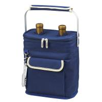 Picnic at Ascot 2 Bottle Insulated Wine Tote- Collapsible Multi Purpose Cooler - Blue/Cream