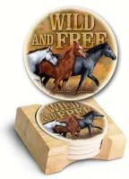 American Expeditions Wild and Free Mustang Stone Coaster Set 4