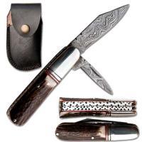 Damascus Stag Barlow Folding Knife
