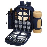 Deluxe Equipped 4 Person Picnic Backpack w/Blanket - Navy /White