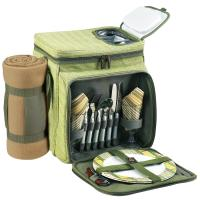 PPicnic at Ascot Insulated Picnic Basket/Cooler Fully Equipped for 2 with Blanket - Olive Tweed