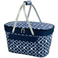 Picnic at Ascot Collapsible Insulated Picnic Basket - Trellis Blue