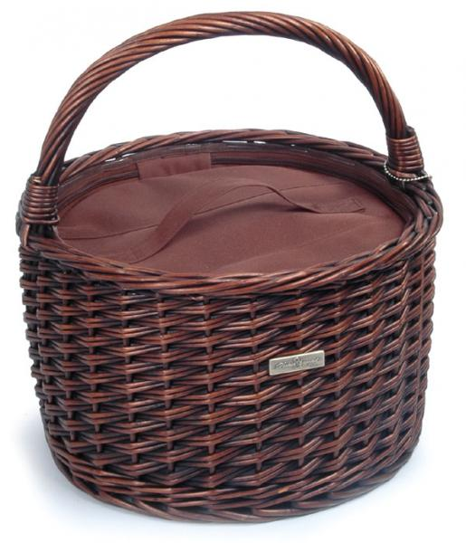 Picnic & Beyond Traditional Round Carrier Willow Cooler Basket
