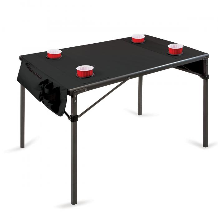 Picnic Time Travel Table, Black with Gunmetal Grey Frame