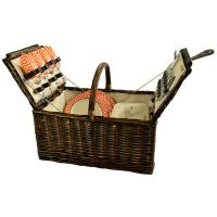 Picnic at Ascot 714-DO Buckingham Willow Picnic Basket with Service for 4 - Diamond Orange