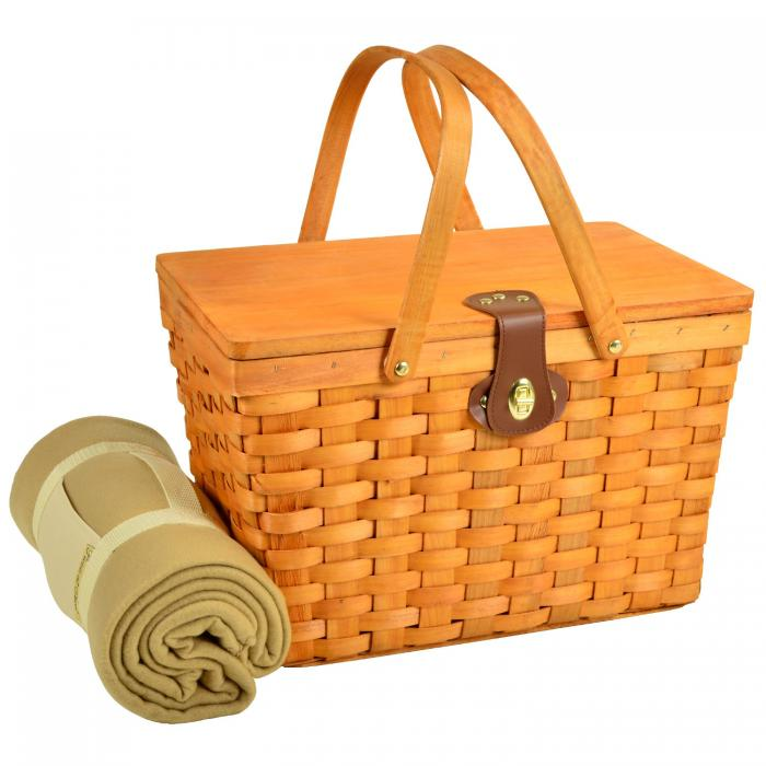 Picnic at Ascot Frisco Traditional American Style Picnic Basket Equipped for 2 w/Blanket, Santa Cruz