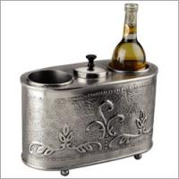 "Old Dutch 12 1/2"" x 6"" x 9 1/4"" Antique Embossed Pewter 2 Bottle Wine Chiller"